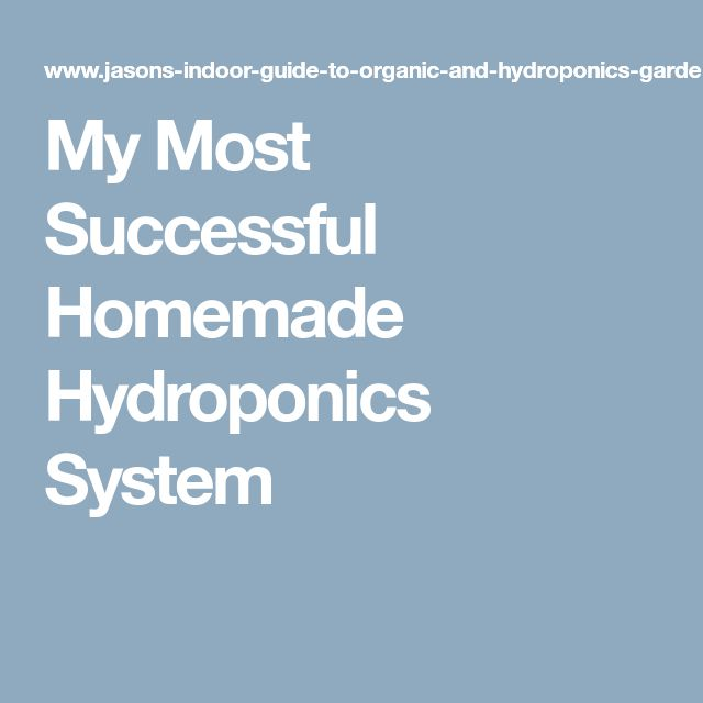 My Most Successful Homemade Hydroponics System