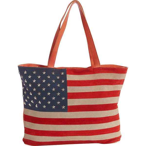 Scully Suede Flag Shoulder Bag with Studded Stars - Red, White and... ($150) ❤ liked on Polyvore featuring bags, handbags, shoulder bags, red, red hand bags, studded purse, red handbags, purse shoulder bag and suede handbags