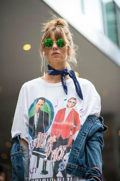 ニューヨークコレクションスナップ 2017 SS 春夏 17SS トレンド trend ロックT ロック Tシャツ グランジ ビンテージ ヴィンテージ T