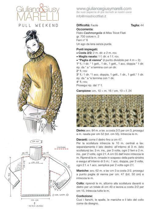 """PULL WEEKEND A tutte le amiche a cui è piaciuto il punto """"Paglia di Vienna"""" proponiamo un nuovo modello dove le maniche diventano preziose. Preziose per il filato """"Cashmongolia"""", una contaminazione di lana/cashmere di Miss Tricot Filati e anche per la scelta del colore, elegante per eccellenza. I ferri consigliati sono il n°6. Buon lavoro, soffice e caldissimo!"""