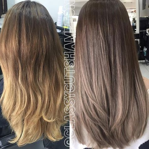 Hay guys here we have our lovely client Tania! Look how nicely the ash brown we did for her 4months ago has washed out into! Today we darken her base to a smokey ash brown then color melted to a smokey dark ash blonde! Best part NO bleached was needed for