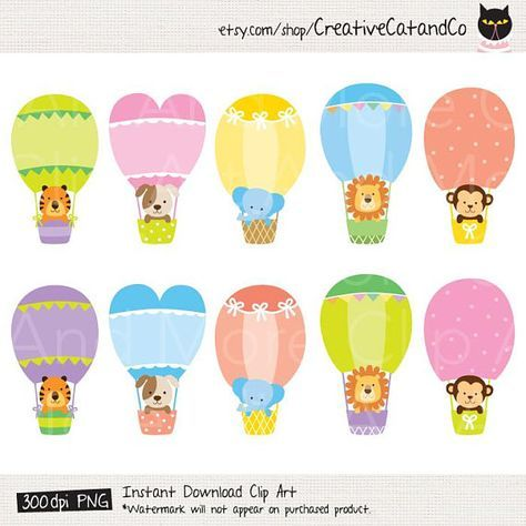 Set of cute baby animals in hot air balloons clipart including tiger, lion, elephant, monkey and dog plus the sky background. This is INSTANT DIGITAL DOWNLOAD product. YOU WILL RECEIVE: - 10 PNG files of animals in hot air balloons with transparent background. - 1 JPG file of sky