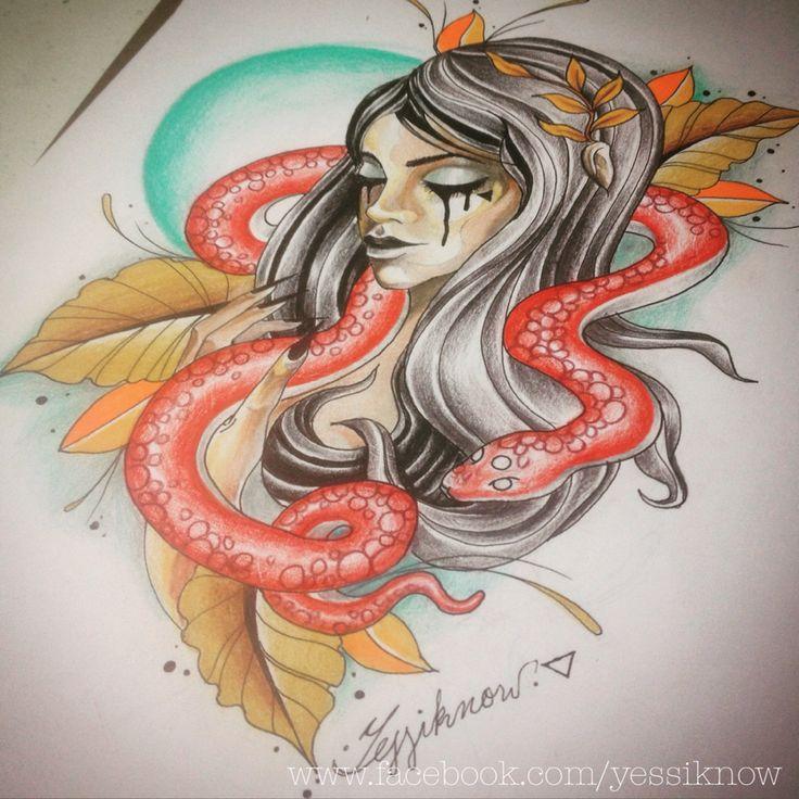 Neo traditional, girl and snake