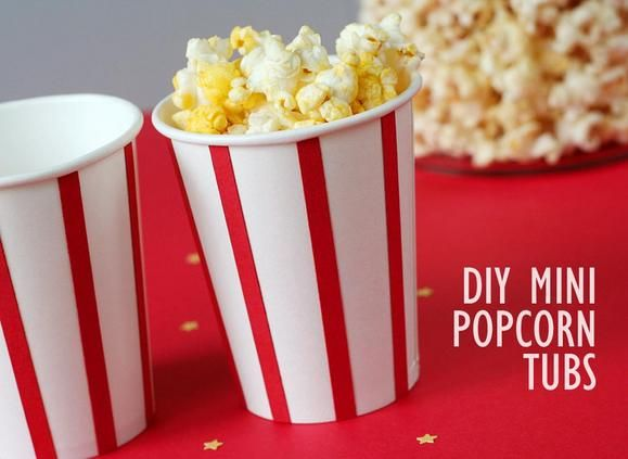 DIY popcorn tubs http://www2.fiskars.com/Crafting/Projects/Entertaining-Parties/Decorations/A-Party-for-the-Stars-Oscar-Night