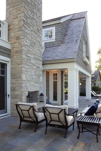 Indoor Outdoor Fireplace, Pretty Exterior - Terrace by Charlie & Co. Design, Ltd via Houzz