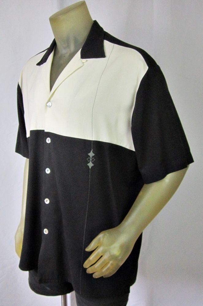 Da Vinci Charlie Sheen Signature Series Black White Retro Club Shirt XL #DaVinciCalifornia #ButtonFront