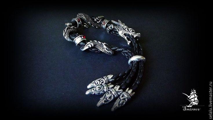 """Купить Плетеный браслет """"Дракон"""" - чёрно-белый, браслет, дракон, кожаный браслет, плетеный браслет"""