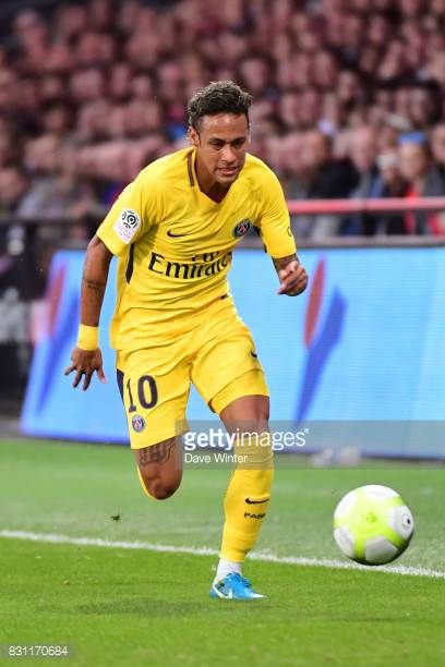 Neymar JR of PSG during the Ligue 1 match between EA Guingamp and Paris Saint Germain at Stade du Roudourou on August 13 2017 in Guingamp