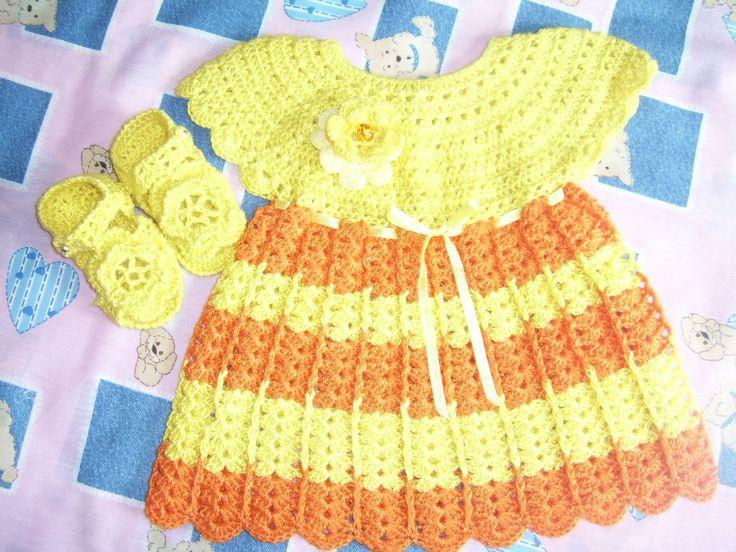 Vestido niñita a crochet.