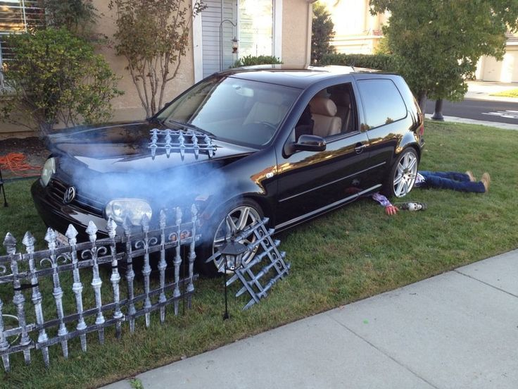 perhaps with the atvsnow plow halloween yard decoration use your car as a theme fog machine under the hood bodies in the aftermath