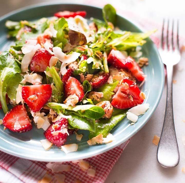 Strawberry Fields Salad with Chia Seed Vinaigrette #recipe via A Sweet Pea Chef http://www.yummly.co/#recipe/Strawberry-Fields-Salad-with-Chia-Seed-Vinaigrette-2069255