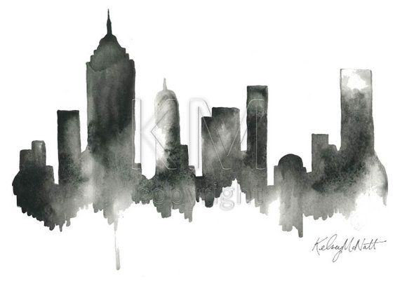 Black artwork of NYC New York City Skyline Print by KelseyMDesigns, $25.00. I want a different city though.