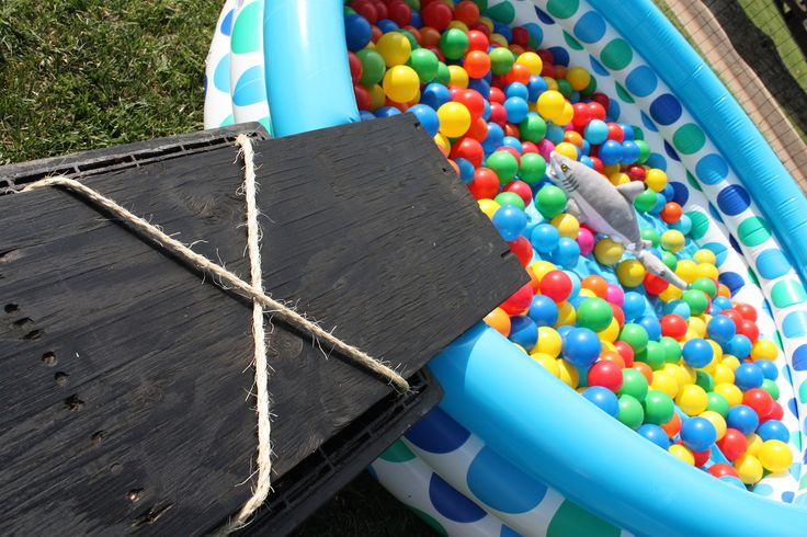Pirate party walk the plank into a ball pit game.