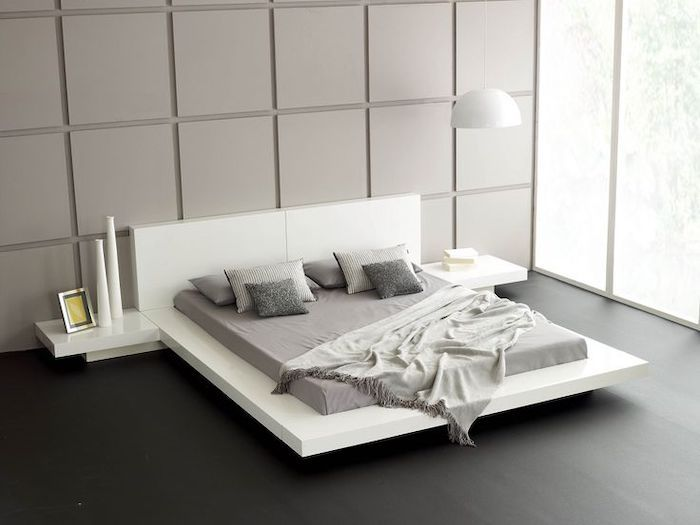 Black Wooden Floor White Bed Frame And Shelves Grey Tiled Wall Tall Windows Pinterest Bedroom Modern Platform Bed Minimalist Bedroom Design White Bed Frame