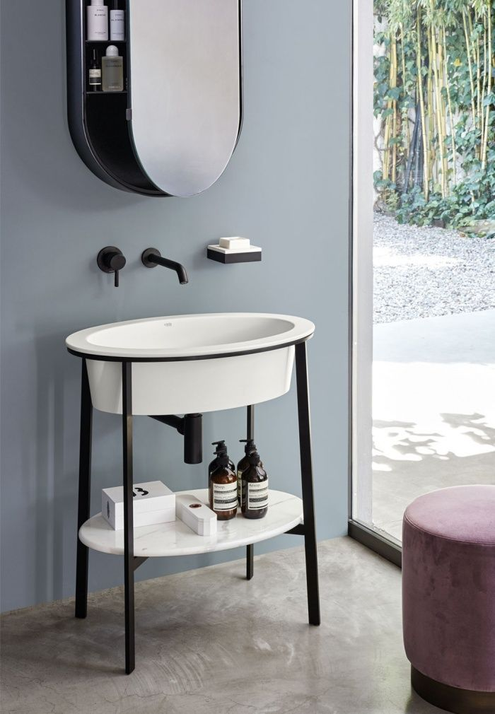 Talco Washbasin Black Matt Framework Bianco Carrara Marble Top Black Matt Oval Box Mirror Muebles Moodboard Banos