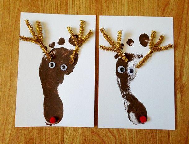 Reindeer footprint Christmas Card