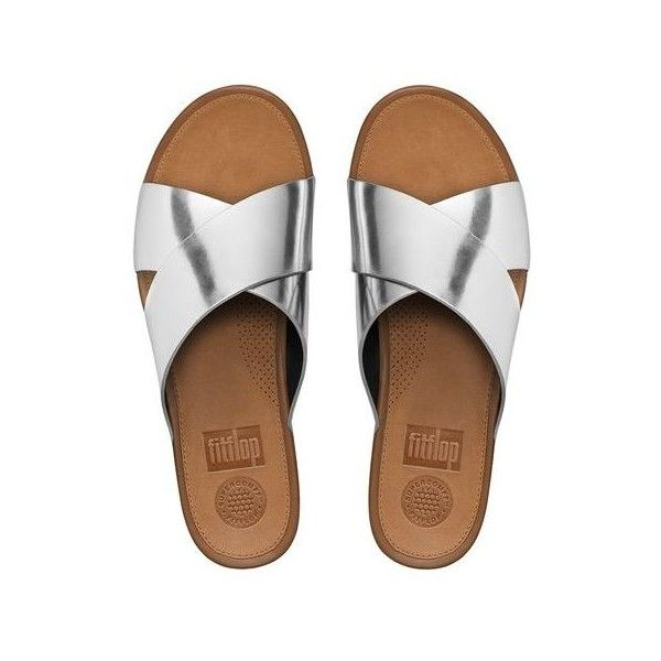 FitFlop Aix™ Leather Slide Sandals ($130) ❤ liked on Polyvore featuring shoes, sandals, summer sandals, palm beach shoes, leather sandals, beach shoes and summer shoes