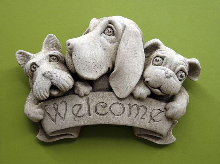 Triple Dog Welcome Plaque - Carruth Studio (hand cast concrete)