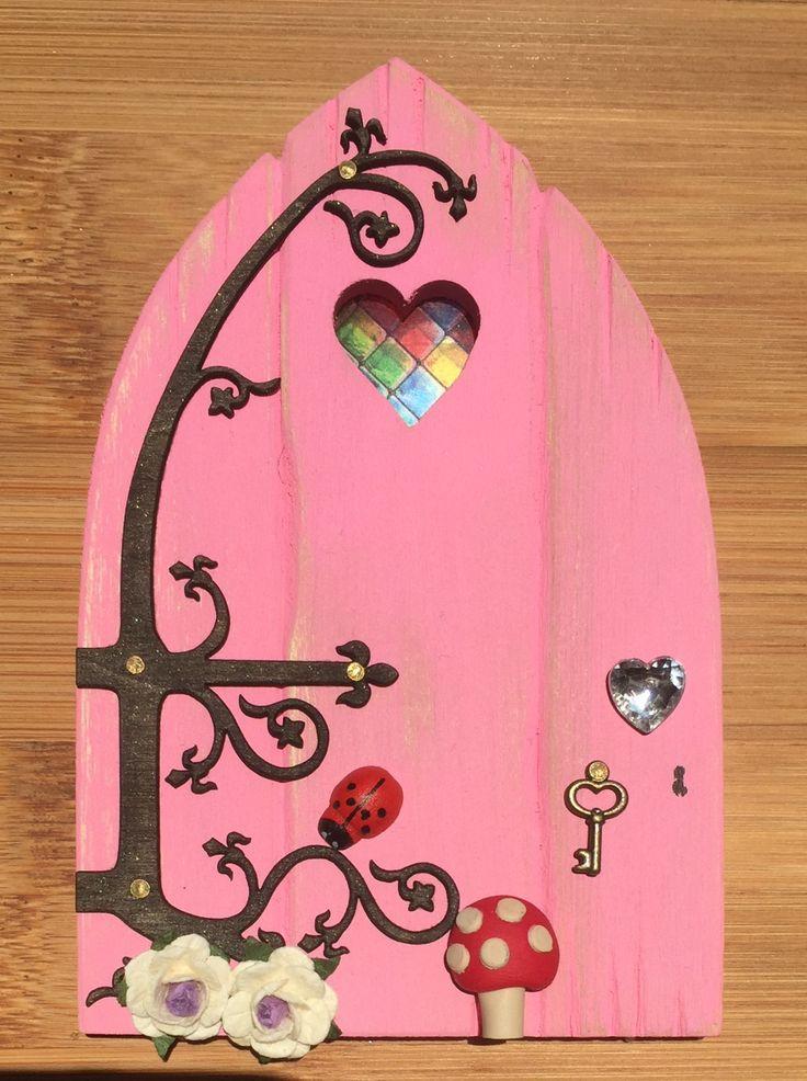 Oaktree Fairies - The Welsh Fairy Door Company. Blushing Pink Fairy Door with new Fairytale hinge! www.oaktreefairies.co.uk