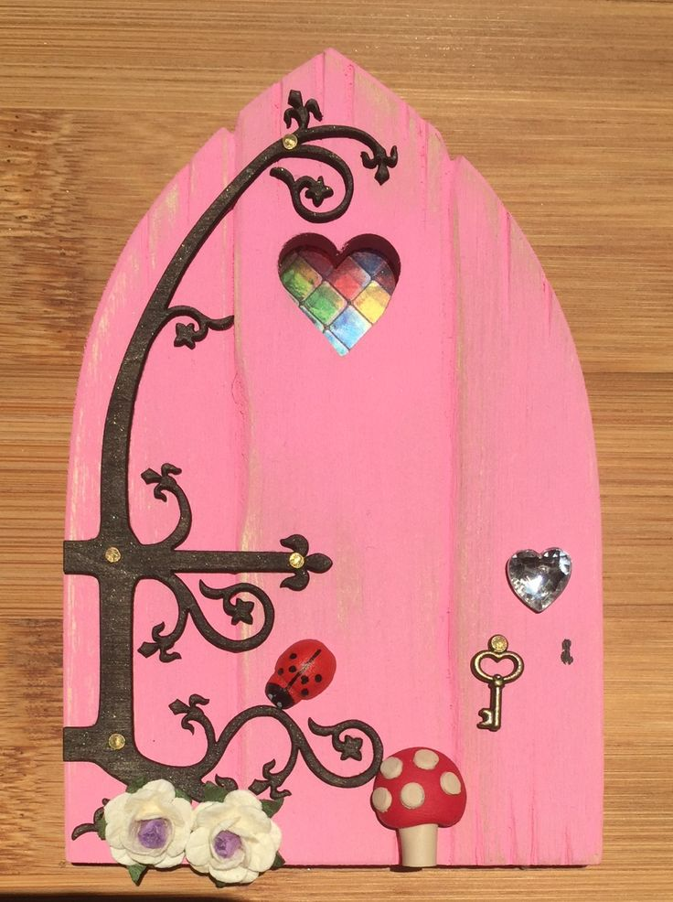 Oaktree Fairies - The Welsh Fairy Door Company. Blushing Pink Fairy Door with new Fairytale hinge! www.oaktreefairies.co.uk