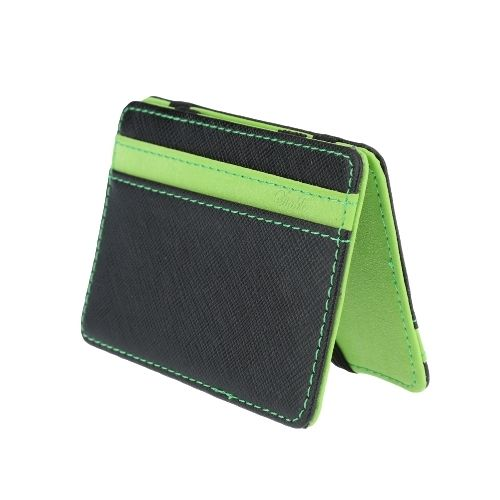 8.99$  Watch here  - New Fashion Men Money Clip Card ID Holder PU Leather Fold Design Business Credit Card Holder Green / Orange