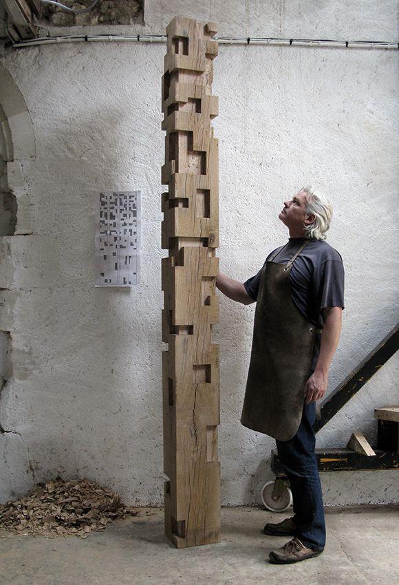 Alban Lanore / Work in progress / Oak column.