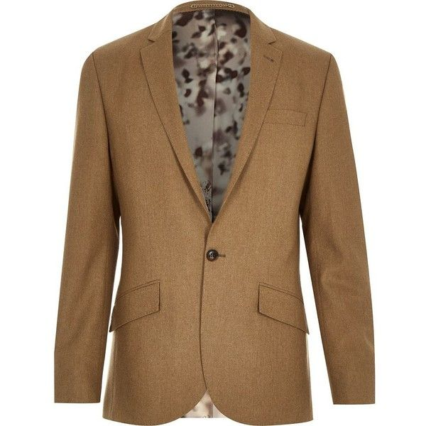 River Island Camel brown wool-blend slim suit jacket ($70) ❤ liked on Polyvore featuring men's fashion, men's clothing, men's outerwear, men's jackets, sale and stone