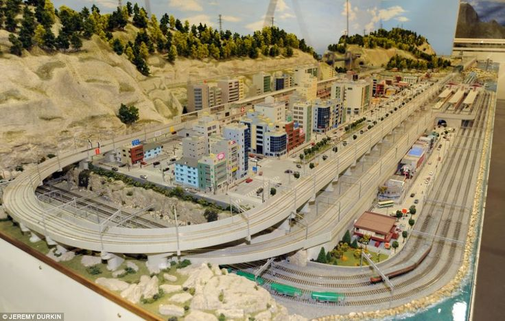 Spectacular: With more than 3,000ft of railway track, this display is thought to be the largest indoor model railway in Britain. Above, the Japanese section of the track