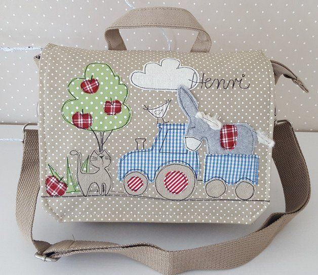 Liebevoll gestaltete Kindergartentasche/ Kindergartenrucksack mit Wunschnamen. - abnehmbarer Rucksackträger - abnehmbarer verstellbarer Schultergurt - 100% Canvas, Farbe beige - Innenfutter...