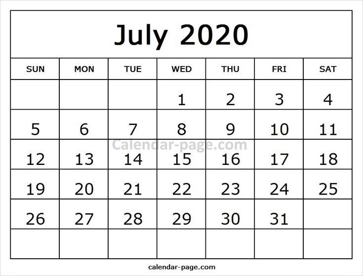 July Calendar 2020 Printable Template