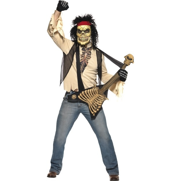 Zombie Rocker Costume - Includes Mask With Hair, Shirt With Attached Waistcoat, & Bone Guitar -   LOW STOCK - Available in Medium 38-40 Chest - £ 32.99