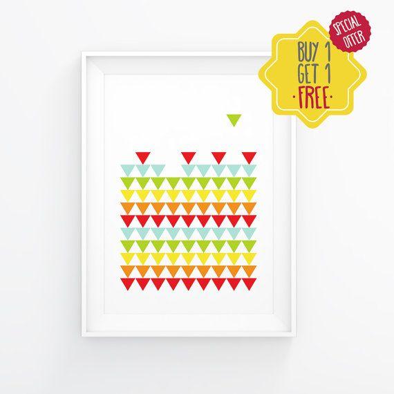 Printable triangle pattern, Pattern wall art, Colorful geometric poster, Scandinavian nursery wall art, Geometry kid printable,Kids wall art
