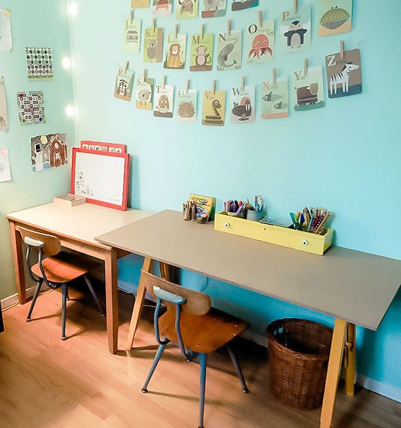kid friendly craft studio on a budget - Boys Desk Ideas