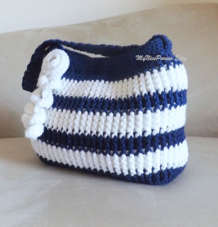 Crochet navy blue and white shoulder bag fall fashion by Avaneska