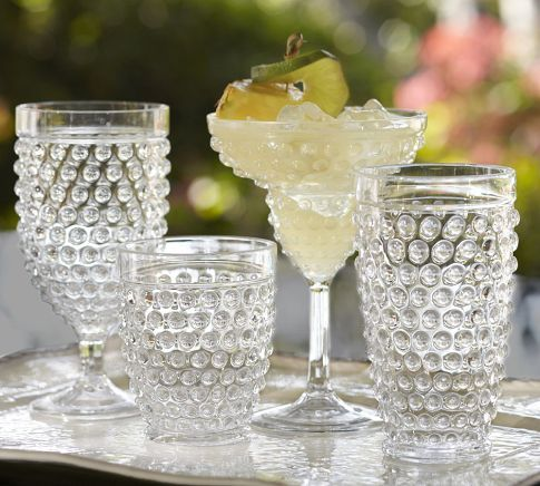 Potterybarn's Hobnail Outdoor Drinkware    A vintage hobnail pattern gives our shatterproof drinkware the look and feel of traditional crystal. The complete set of margarita glasses, tumblers, and goblets.