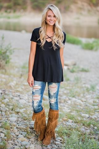 Pull Me Closer Criss Cross Top (Black) - NanaMacs.com - 1