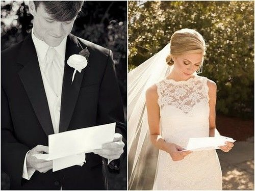 Give each other letters to be read right before the ceremony...so much more meaningful than a material gift.