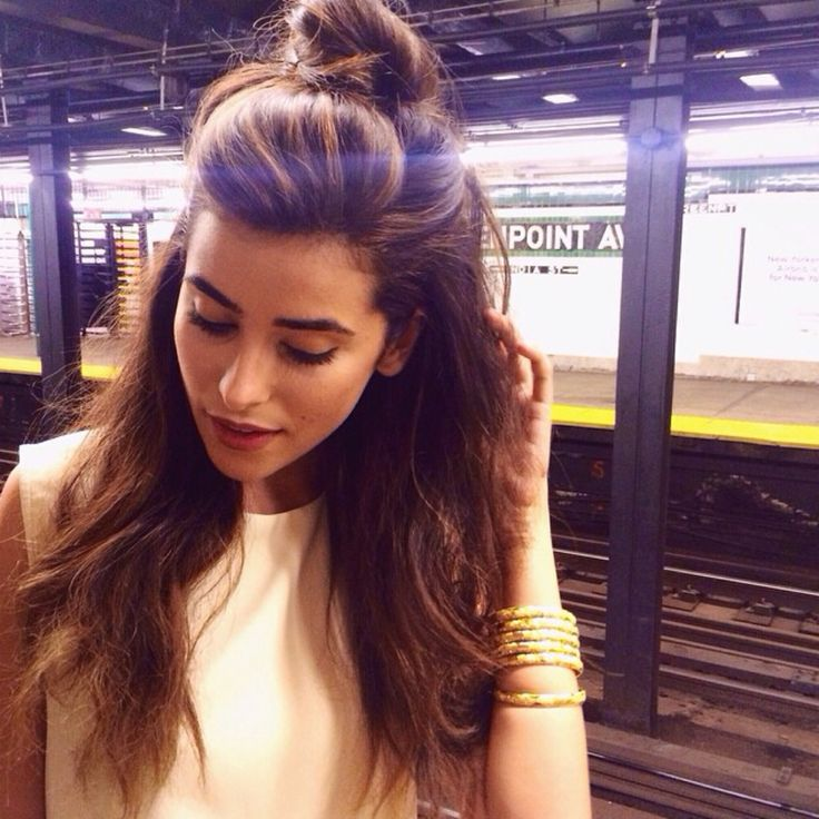 Top knot half up hairstyle good for when you want your hair down but need it out of your face still!