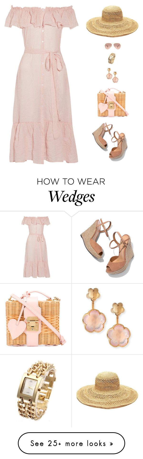 """Pink lady"" by candynena228 on Polyvore featuring Lisa Marie Fernandez, Schutz, Mark Cross, Pasquale Bruni, Ray-Ban and Mar y Sol"