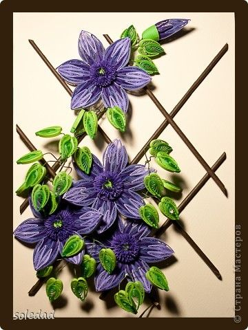 Painting mural drawing Mother's Day March 8 Birthday Paper Quilling Clematis band photo 1