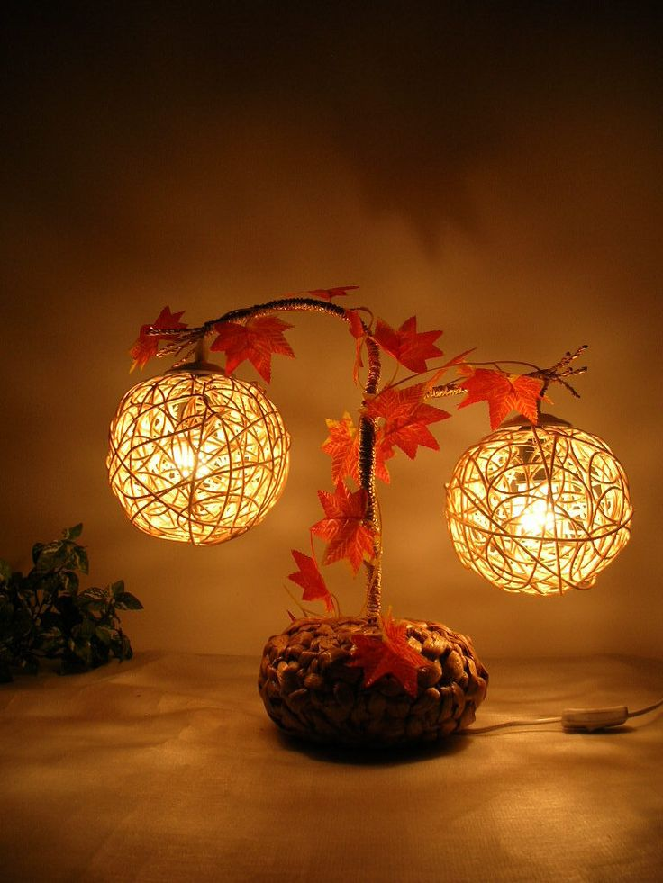 Fall Cottage Plant Lamp