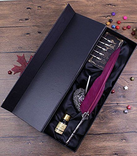 Antique Feather Pen Set Metal Nibbed Calligraphy Pen Set Writing Quill (Wine Red)