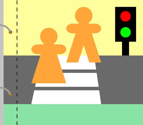 Na této stránce se děti mohou naučit, na kterou barvu stojíme a na kterou přecházíme na druhou stranu silnice. Červené a zelené kolečko je z jedné části suchého zipu. Jednu z barev na semaforu lze vždy zakrýt černým kolečkem s našitou druhou částí suchého zipu. Panáčci jsou oddělení, případně se mohou pohybovat na provázku, aby se ze stránky neztratili.