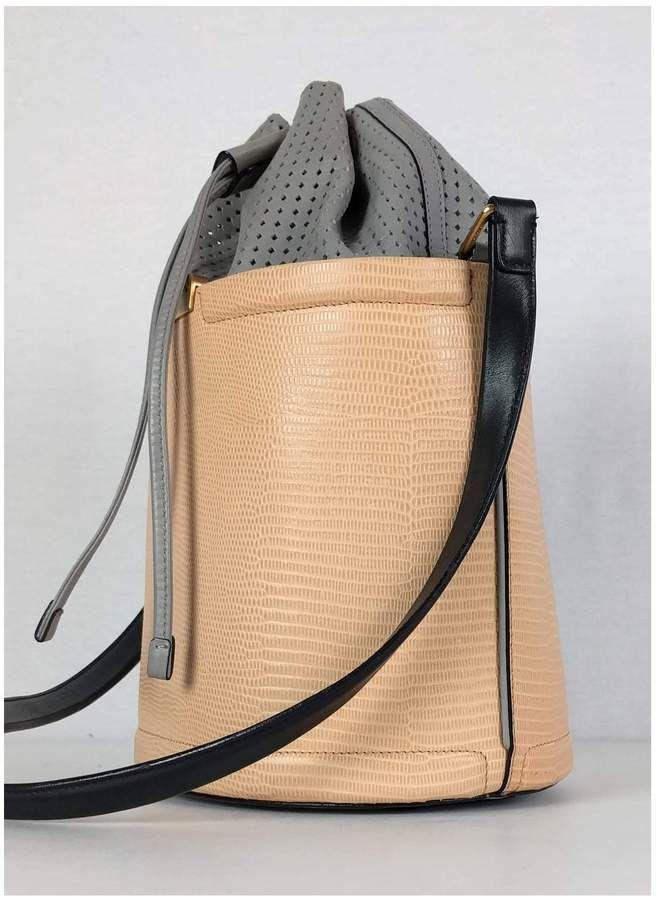 Emporio Armani- Color-Blocked Leather Bucket Bag  e73a398b2cabc