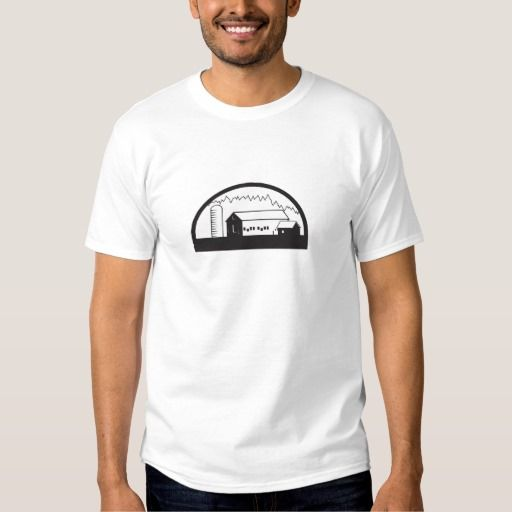 Farm Barn House Silo Black and White Shirt. Black and white illustration of a farm house barn and silo set inside half circle shape done in retro style. #Blackandwhite #FarmBarnHouseSilo
