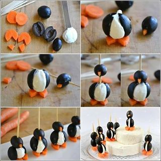 "Penguins! You will need 1 can Colossal olives, 1 can small olives, large carrot slices, cream cheese (or soft brie) and shish kebab skewers (or long toothpicks.) Drain both cans of pitted olives. Slice open the large ones and stuff with a dollop of cream cheese (flavored if you wish.) Cut a triangle from each carrot slice. Place the triangle in the opening of the small olive and skewer it.; then skewer the stuffed olive and then the carrot ""feet."""