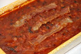 A medley of mixed beans, make up this baked bean dish, often referred to as Calico Baked Beans because of the variety.