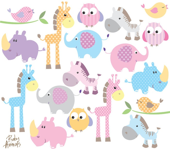 Baby Animal Clipart Clip Art Cute Little Animals Baby Shower Pastel #clip art #baby shower