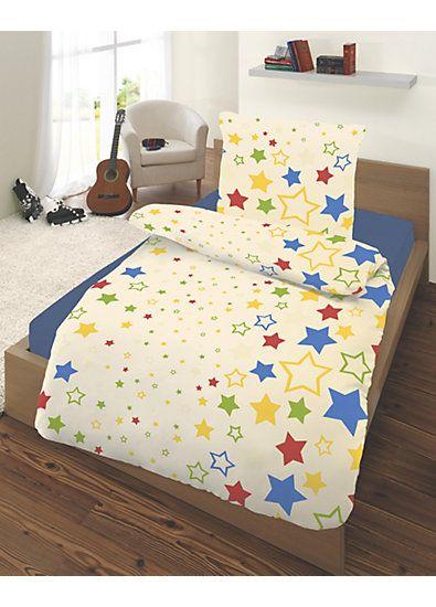 Kinderbettwäsche Sterne, bunt, Renforcé, 135 x 200 cm