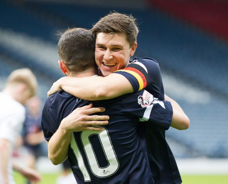 Queen's Park's Sean Burns celebrate Anton Brady's goal during the Betfred Cup game between Queen's Park and Edinburgh City.
